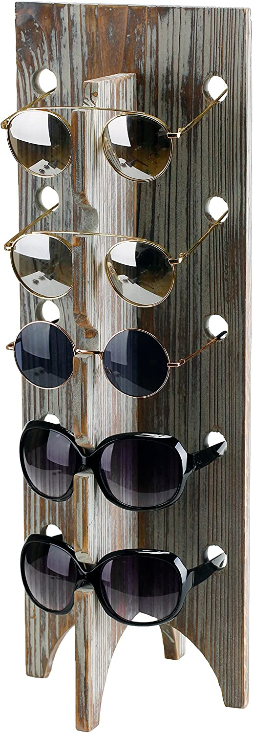 MyGift Rustic Torched Wood Retail Sunglasses Display Stand, 5-Pair Eyewear Glasses Rack