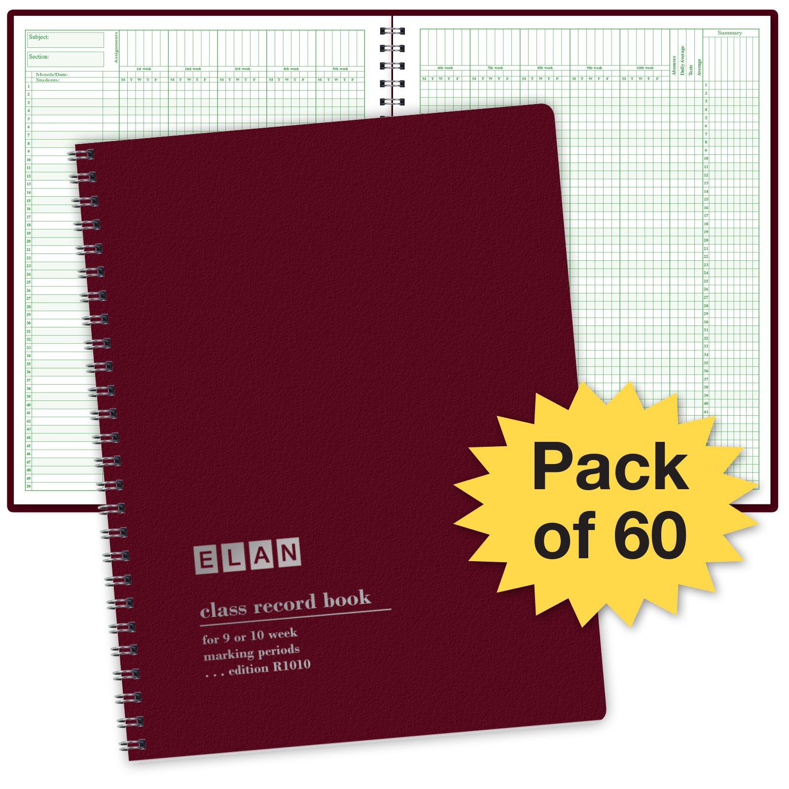 Class Record Book for 9-10 Weeks. 50 Names R1010 (Maroon - Pack of 60)