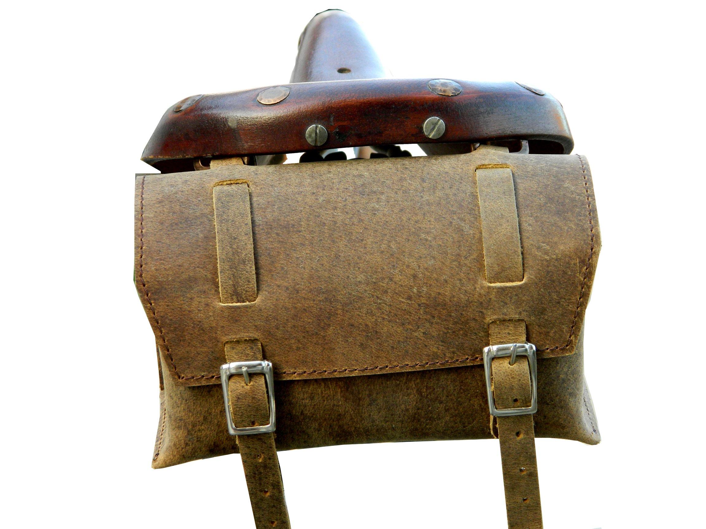Herte Genuine Leather Bicycle Saddle Box Bag Utility Vintage Bag br by Herte (Image #2)
