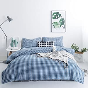 SUSYBAO 3 Piece Duvet Cover Set 100% Washed Cotton King Size Royal Blue Gingham Grid Bedding Set 1 Plaid Geometric Duvet Cover with Zipper Ties 2 Pillowcases Luxury Quality Soft Breathable Comfortable