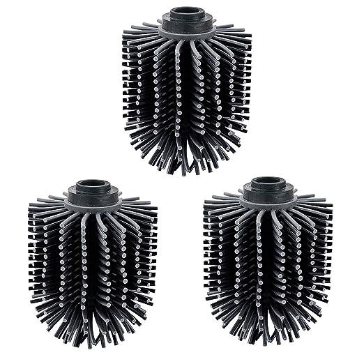 VINN DUNN Color Negro 71 x 71 x 93 mm, 3 Unidades Cabezal de Cepillo de Silicona para Inodoro