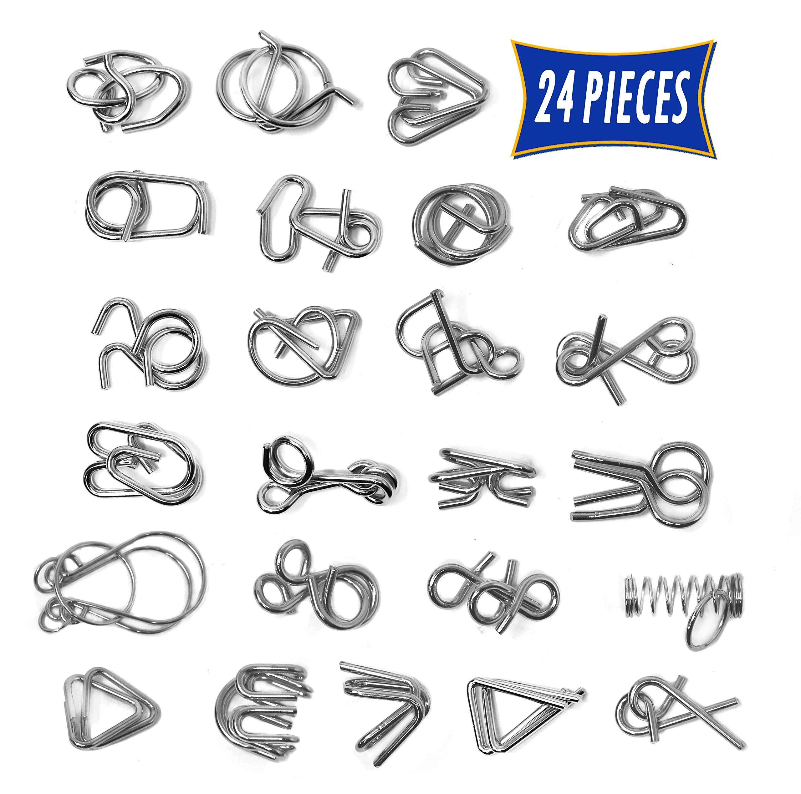 Brain Teasers Metal Wire Puzzle Toys - Assorted Metal Puzzle Toys for Gifts, Party Favors, Prizes, Disentanglement Puzzle Unlock Interlock Toys - IQ Puzzle Brain Teaser Set of 24 by Smart Novelty