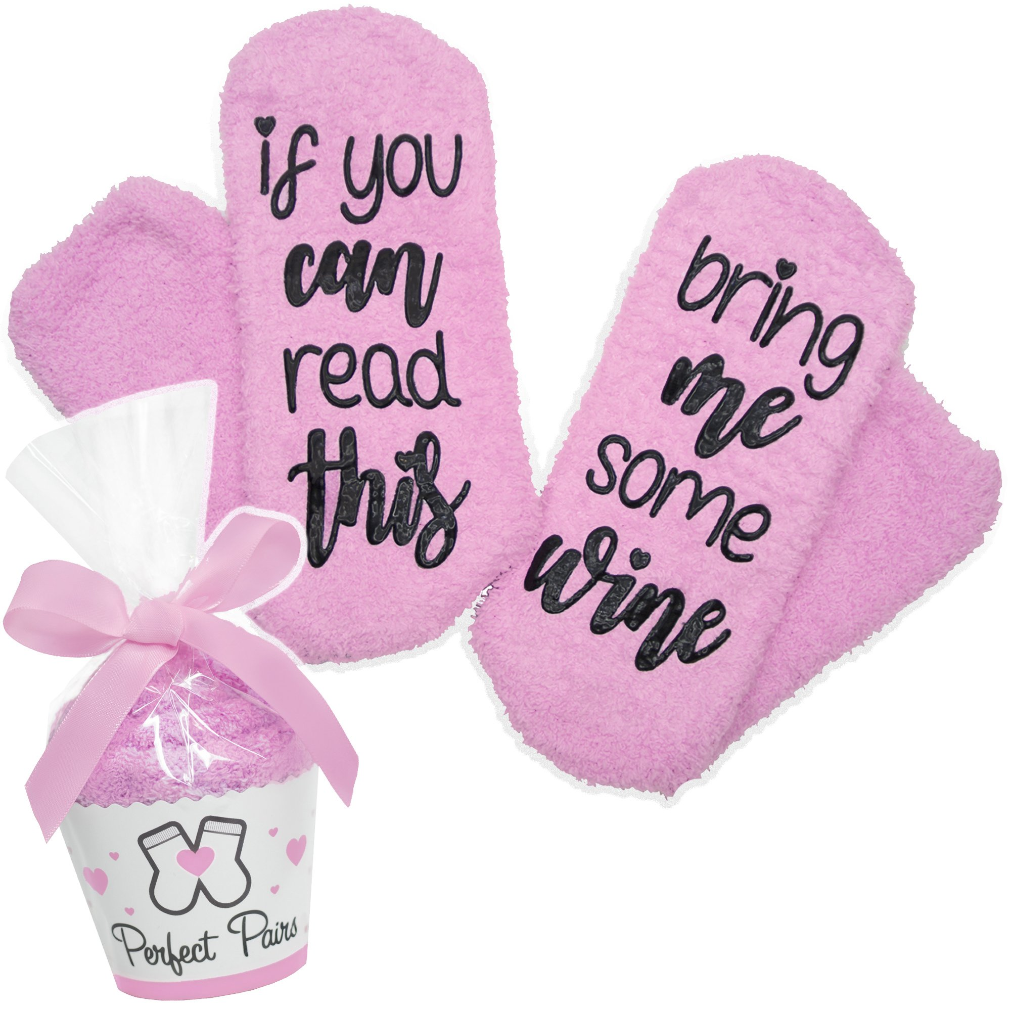 If You Can Read This Bring Me Some Wine Socks - Perfect Pairs - Comfortable Fuzzy Gift Idea For Mother, Wife, or Friend by Perfect Pairs Socks