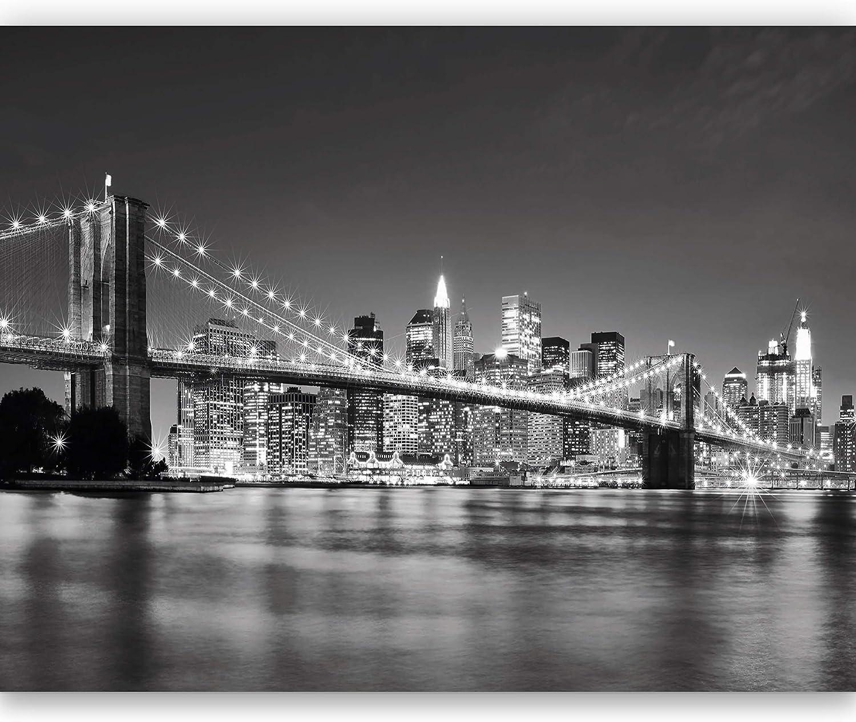 Papier Peint Photo Mural 368x254cm Pont de Brooklyn New York Noir et Blanc