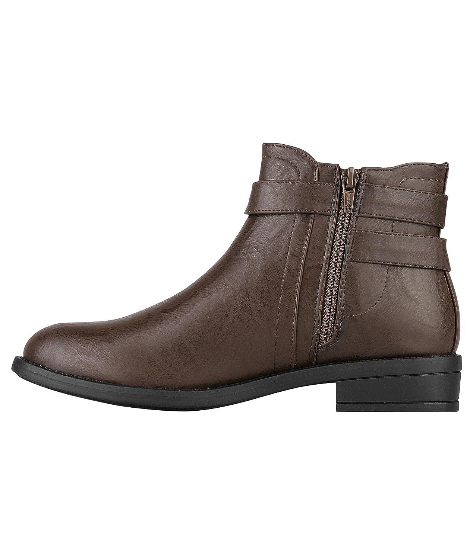 KRISP 5586-BRN-9: Buckle Strap Chelsea Boots: Amazon.es: Zapatos y complementos