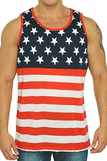 65083202 SHORE TRENDZ USA Flag Men's Tank Top American Prite Sleeveless Shirt: Medium