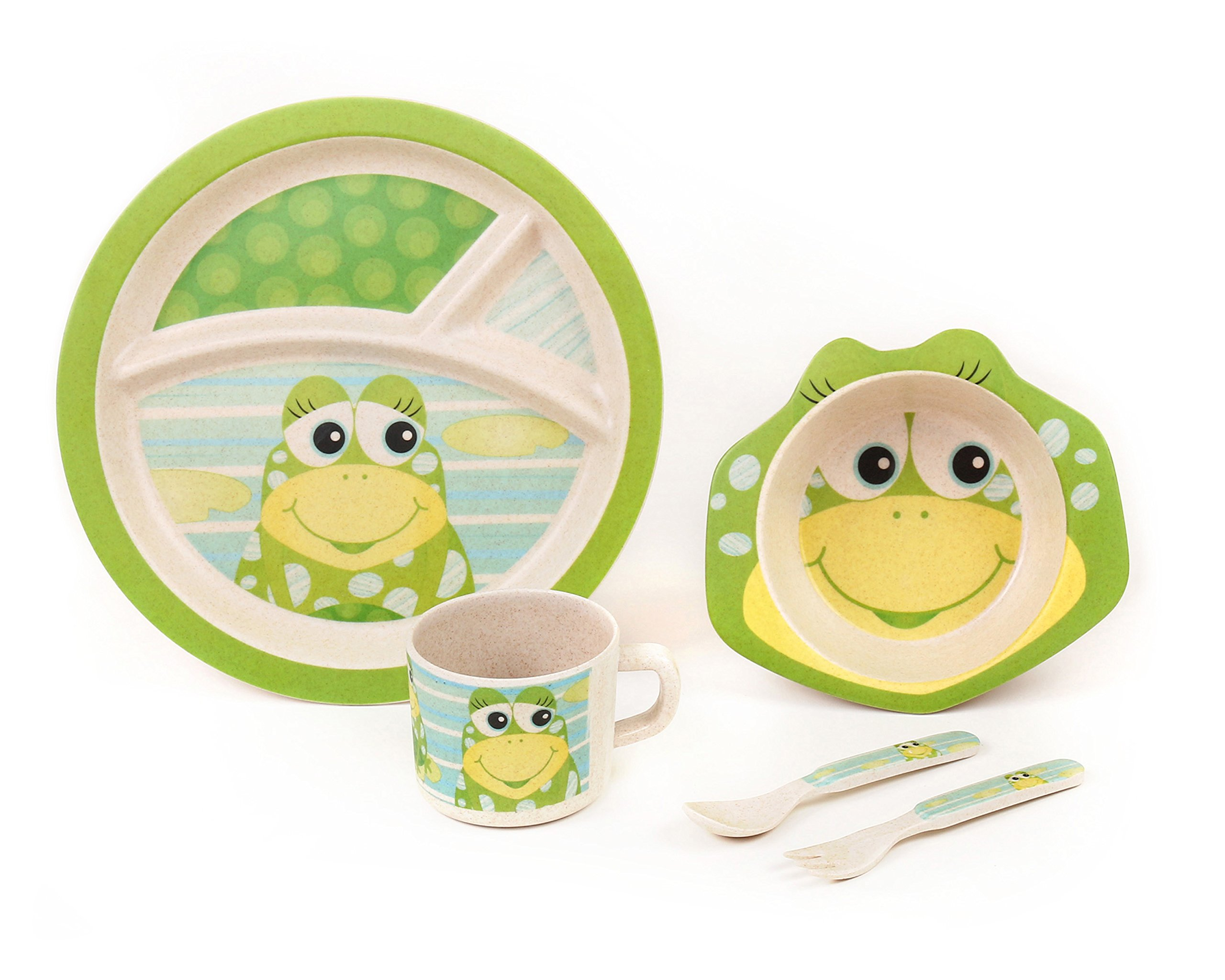 BAMBOO KIDS Meal Set   Plate Set   Toddler Dinner Set   Eco-Friendly Bamboo Dishes   Food-Safe Feeding Set for Toddlers and Little Kids   Boys and Girls   Frog Character by Green Frog Friends