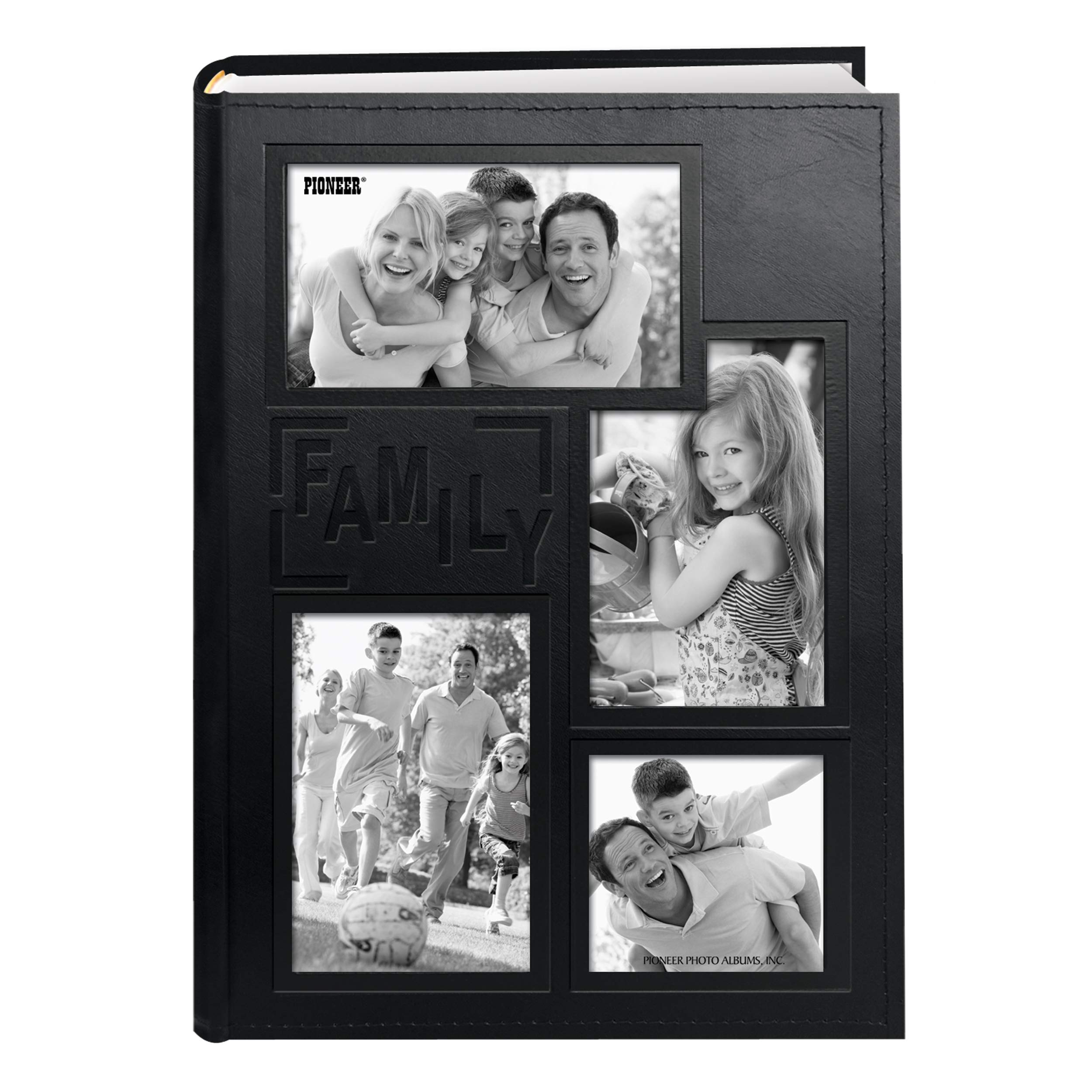 Pioneer Collage Frame Embossed Family Sewn Leatherette Cover 300 Pocket Photo Album, Black by Pioneer Photo Albums