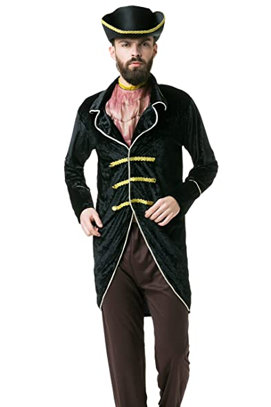 adult men lord pirate halloween costume buccaneer captain dress up role play standard