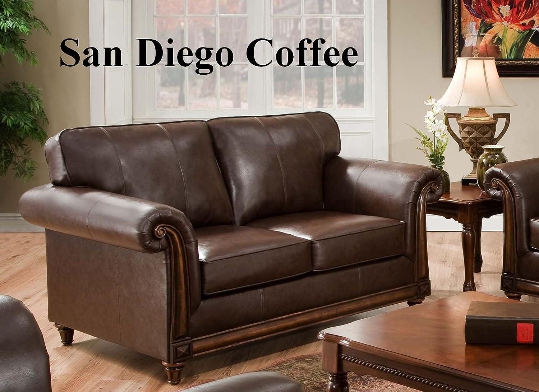 Living Room Furniture San Diego Amazoncom San Diego Coffee Leather Sofa Loveseat Living Room