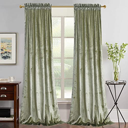 Roslynwood Super Soft Luxury Velvet Set of 2 Light Green Blackout Velvet Energy Efficient Rod Pocket Curtain Panel Drapes Ginger 52Wx96L 2 Panel
