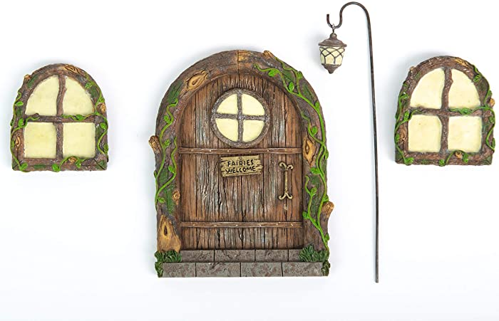 Fairy Door and Windows for Trees – Glow in The Dark Yard Art Sculpture Decoration for Kids Room, Wall and Trees Outdoor | Miniature Fairy Garden Outdoor Decor Accessories with Bonus Fairy Lantern