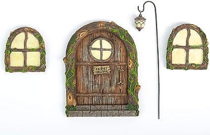 Magical Miniature Fairy Garden Door and Window KIT with Lantern