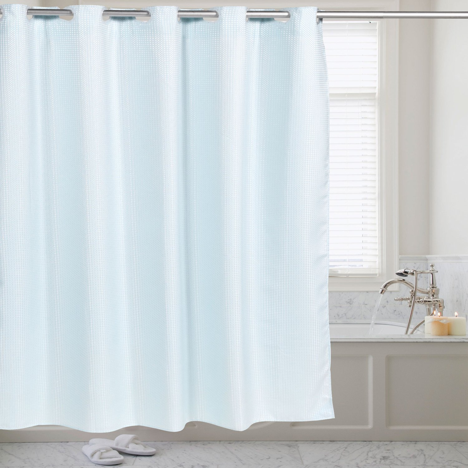 Sweet Home Collection Hookless 70' x 75' Shower Curtain Durable Water Repellent Resistant Fabric with Snap Off Liner in Solid Color Purple Fabric Hookless 70 x 75 Shower Curtain