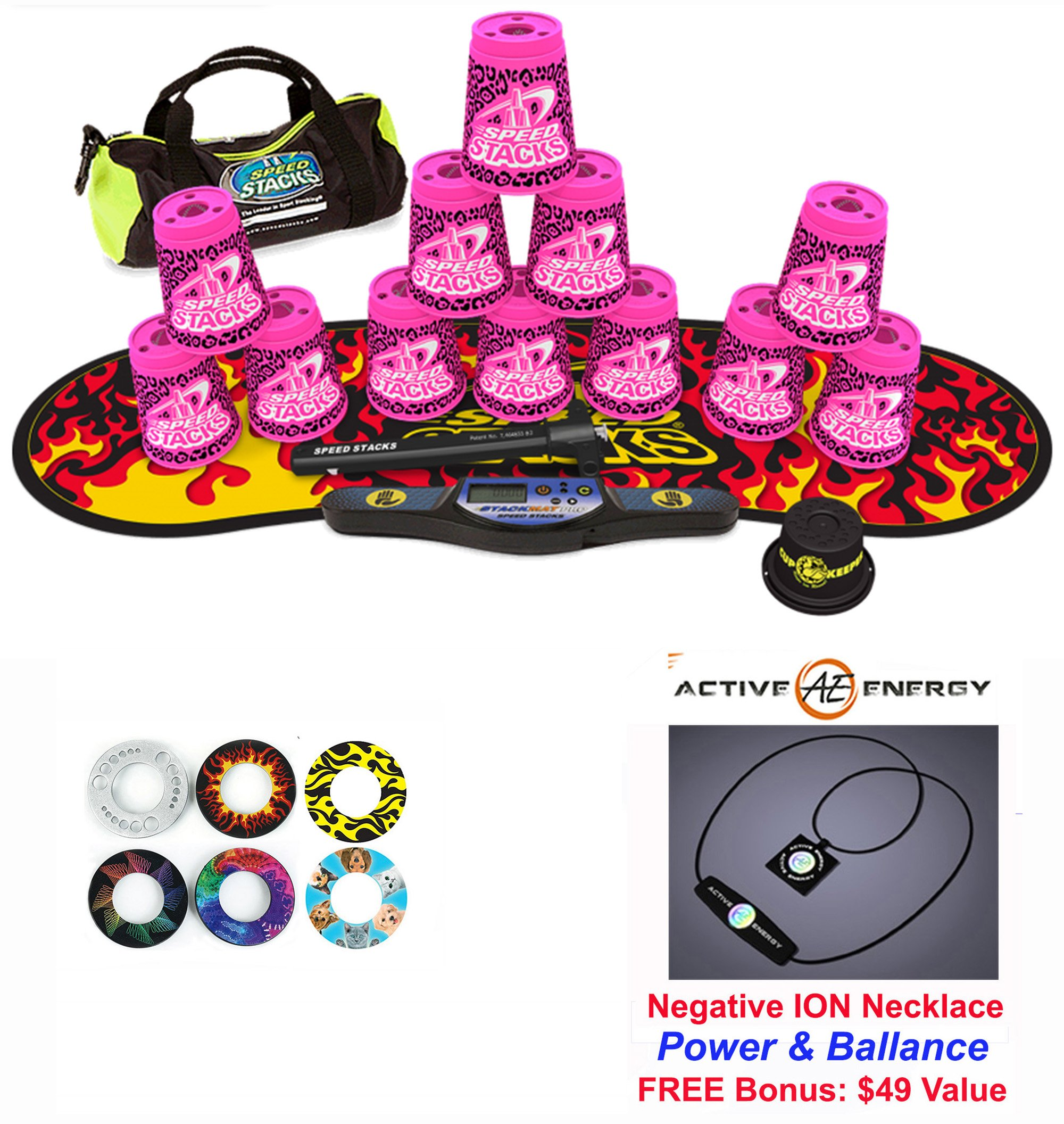 Speed Stacks Custom Combo Set: 12 PINK ZIPPY LEOPARD 4'' Cups, Cup Keeper, Quick Release Stem, Pro Timer, Gen 3 Premium Black Flame Mat, 6 Snap Tops, Gear Bag + FREE: Active Energy Necklace $49