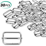 Alcoon 30 Pieces Slide Buckle 1 inch Metal Triglide Slides Rectangle Adjustable Webbing Slider for Fasteners, Strap, Backpack DIY Accessories