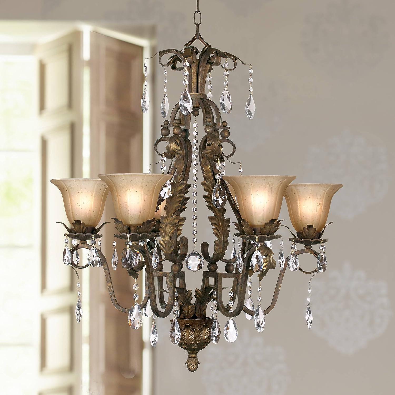 "B000100BH6 Iron Leaf Roman Bronze Chandelier 29"" Wide Crystal Cream Glass Shade 6-Light Fixture for Dining Room House Foyer Kitchen Island Entryway Bedroom Living Room - Regency Hill 81cKU-UXftL"