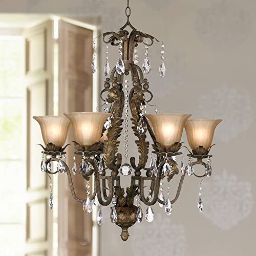 Iron Leaf Roman Bronze Chandelier 29″ Wide Crystal Cream Glass Shade 6-Light Fixture