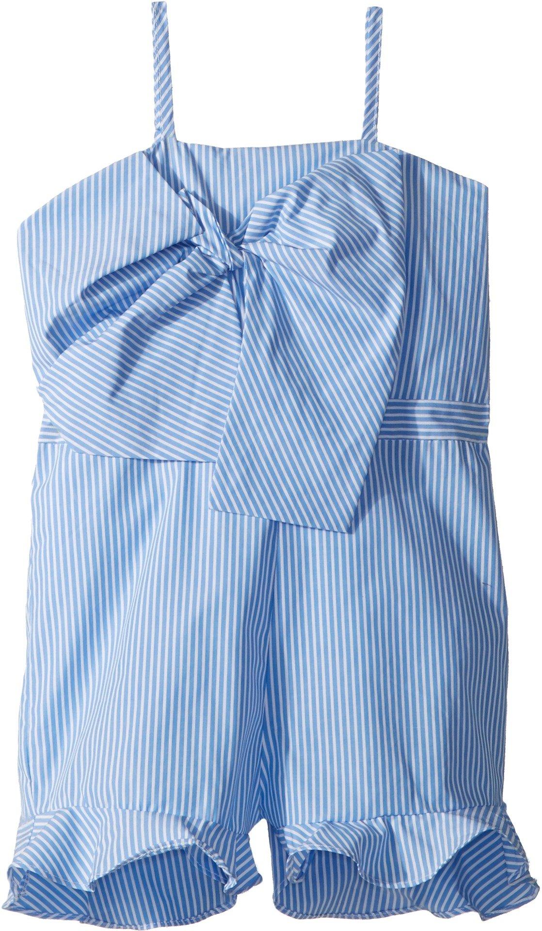 Bardot Junior Girl's Jen Bow Romper (Big Kids) Placid Blue Stripe 14