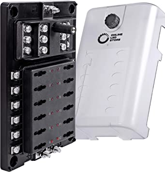 amazon.com: 10 way fuse block with ground negative bus for automotive [dual  positive inputs] [12v - 32v dc] [200 amp] [atc/ato fuses] [led indicator]  [corrosion resistant] auto marine fuse box: automotive  amazon.com