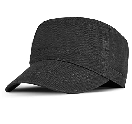 56c06b80 Military Cadet Cap Washed Cotton Twill Plain Low Profile Army Hat with  Adjustable Strap Flat Top Baseball Golf Cap for Men Women