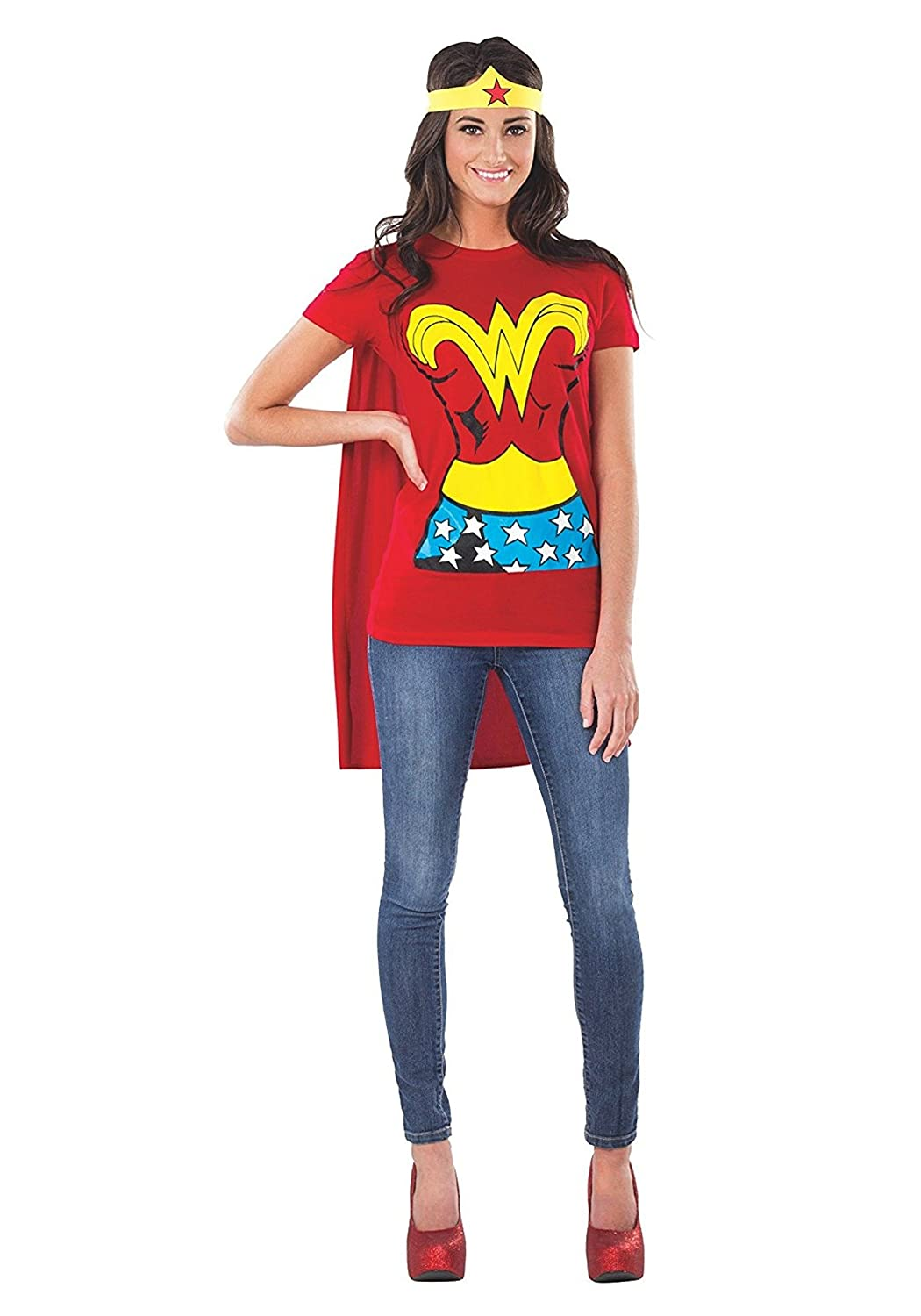 DC Comics Wonder Woman T-Shirt With Cape And Headband Costume Rubies Costumes - Apparel
