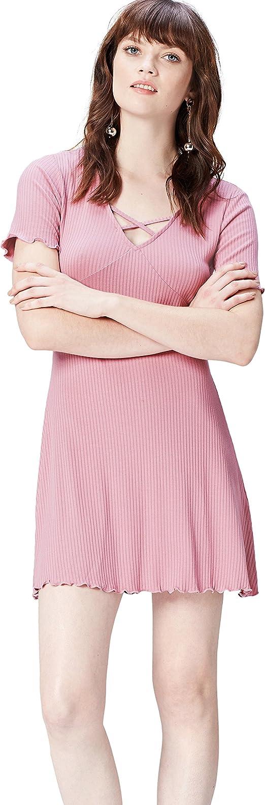 Marca Amazon - find. Vestido con Escote Entrelazado para Mujer