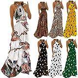 Women's Deep V Neck Floral Maxi Long Dress, Backless Boho Vintage Summer Beach Vacation Sexy Casual Sleeveless Dress (White1,