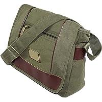 NISUN Cotton Cross Body Messenger Bag Shoulder Sling Bag Travel Office Olive 13x4.5x10 inch (Olive)