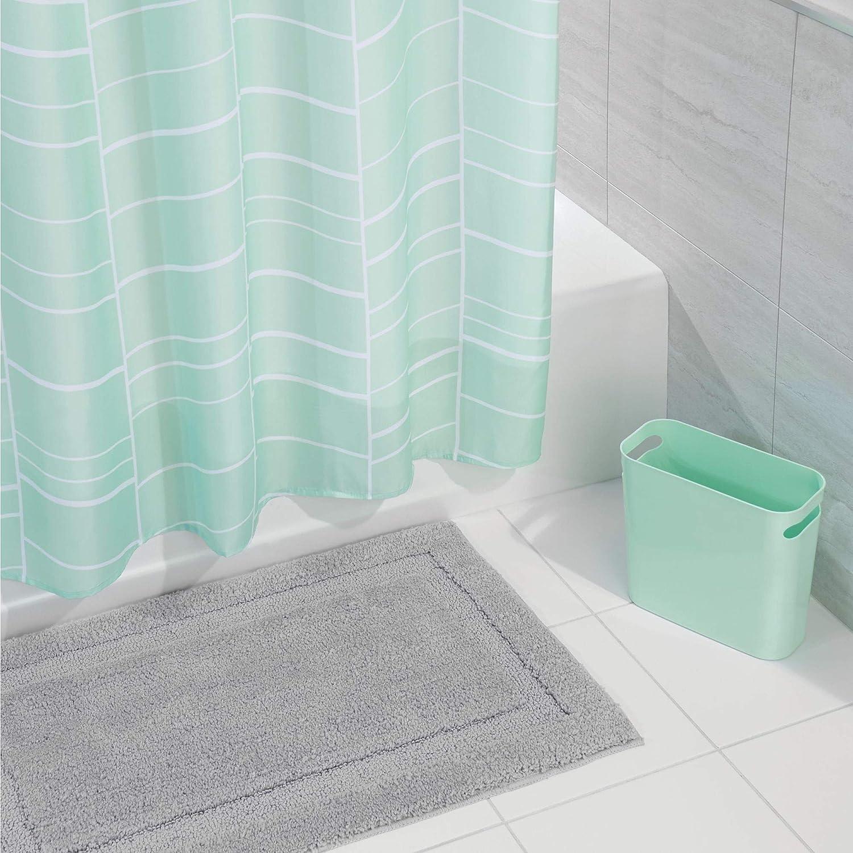 mDesign Striped Microfiber Bathroom Accent Rug, Wastebasket Trash Can - Set of 2, Mint/Gray MetroDecor 4194MDBST