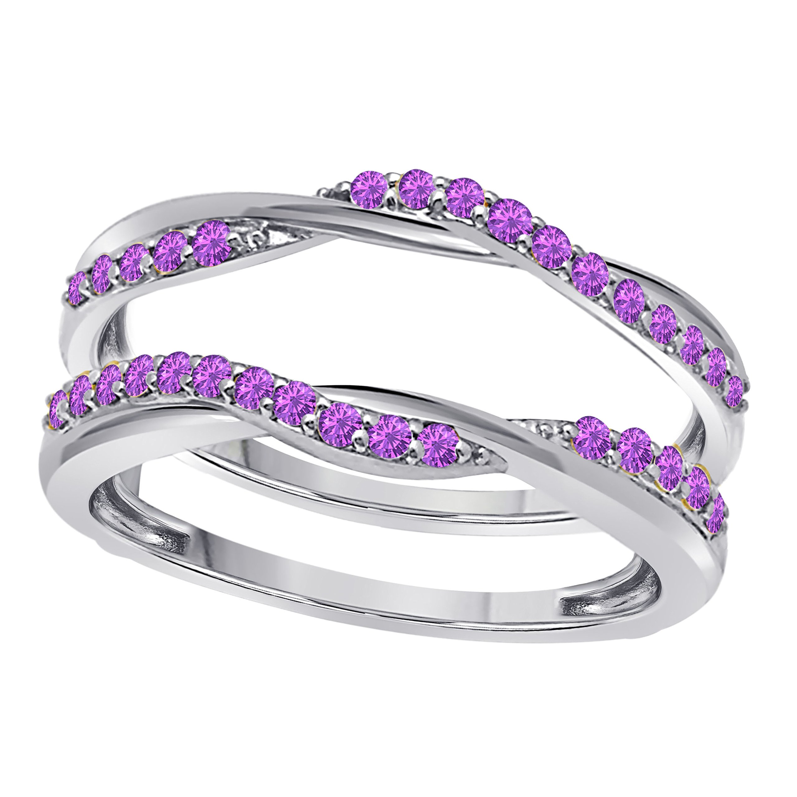 DreamJewels Sterling Silver Plated Delicate Bypass Infinity Style Vintage Wedding Ring Guard Enhancer with CZ Purple Amethyst (0.50 ct. tw.)