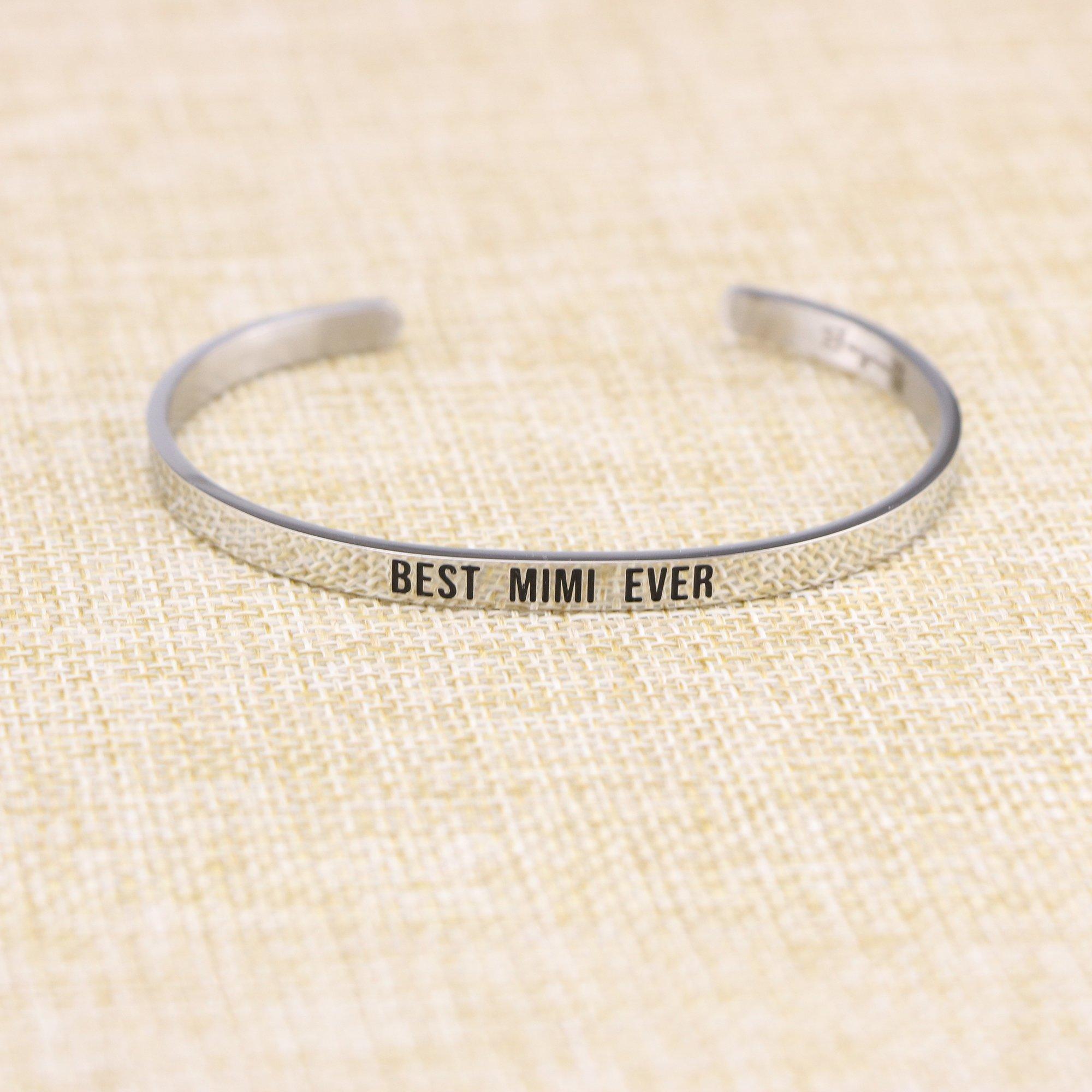 Joycuff Best Mimi Ever Bracelet Jewelry Gifts for Grandma Mantra Cuff Bracelets Bangle by Joycuff (Image #4)