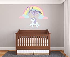 "Custom Name Unicorn Rainbow And Clouds - Prime Series - Baby Girl - Nursery Wall Decal For Baby Rom Decorations - Mural Wall Decal Sticker For Home Children's Bedroom (57) (Wide 42""x34"" Height)"
