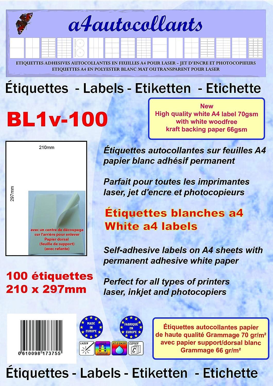 100 hojas A4 papel adhesivo blanco 210 x 297 mm - Para ...