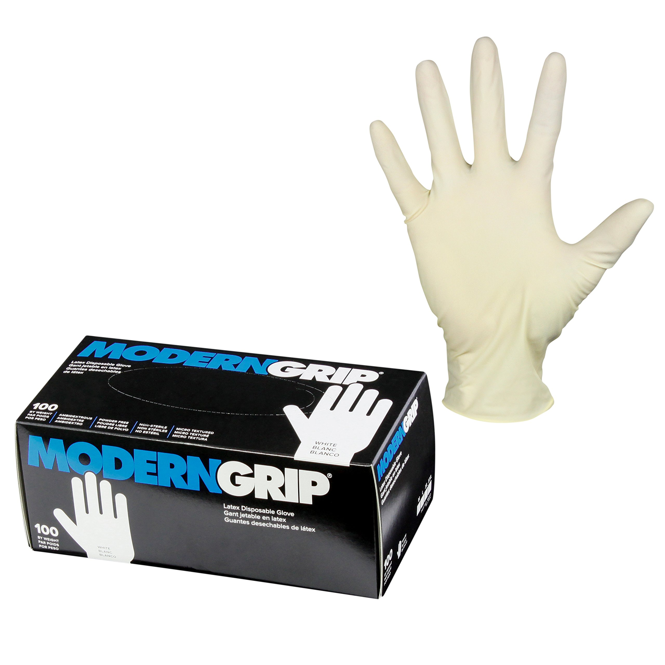 Modern Grip 19000-XL Latex 9 mil Thickness Heavy Duty Disposable Gloves – Industrial and Household - Powder Free - Natural White - X-Large (100 count) by Modern Grip (Image #1)