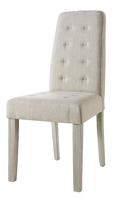 Abitti Pack 2 sillas para Comedor o salón tapizadas en Tela Arena y Estructura en Madera Maciza de Pino 45x95cm: Amazon.es: Hogar