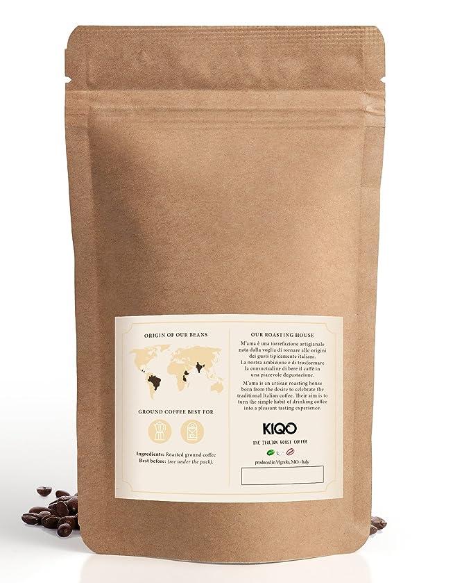 KIQO Aroma Espresso | excelente café tostado premium de Italia | tostado suave en lotes pequeños | relativamente bajo en ácido y digerible | 65% Arábica y ...