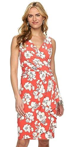 Chaps by Ralph Lauren Women's Floral Surplice Faux-Wrap Dress