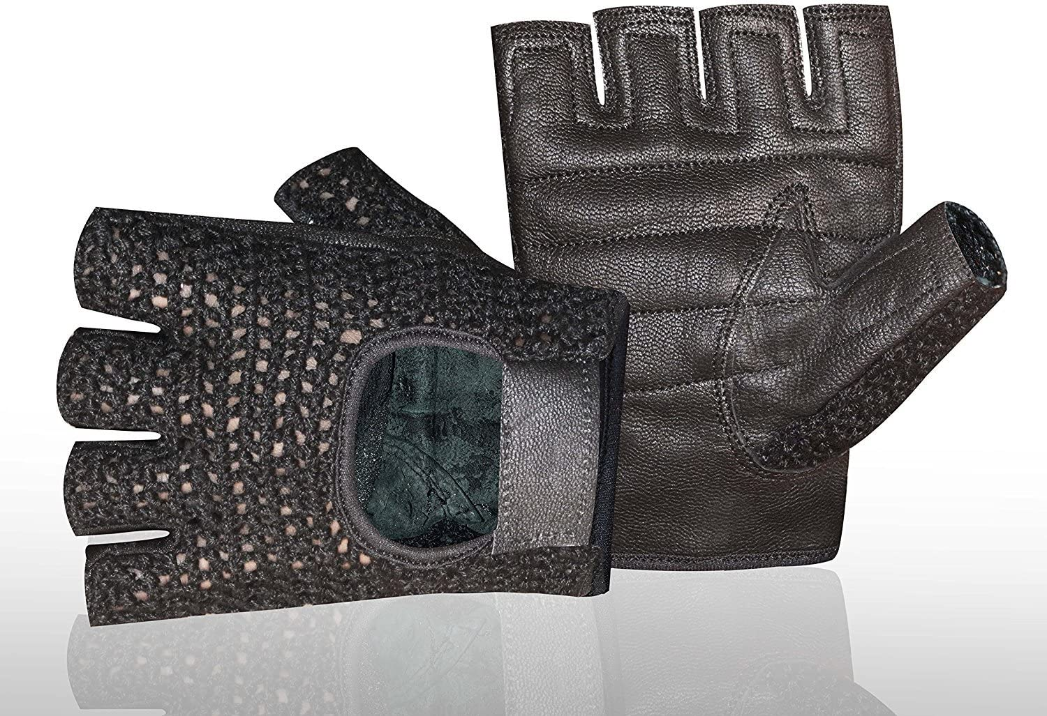 GYM-WEIGHT-TRAINING-FITNESS-POWER-LIFTING-CYCLING-WHEELCHAI MESH-LEATHER-GLOVES