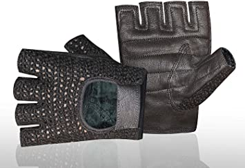 MESH LEATHER GLOVES GYM WEIGHT TRAINING FITNESS POWER LIFTING CYCLING WHEELCHAIR