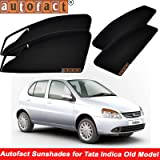 Autofact Magnetic Window Sunshades/Curtains for Tata Indica Old [Set of 4pc - Front 2pc with Zipper ; Rear 2pc Without Zipper] (Black)