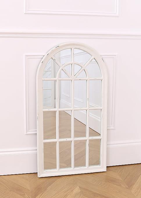 Bella ventana – Espejo de pared Rústico Blanco – 86 cm x 46 cm: Amazon.es: Hogar