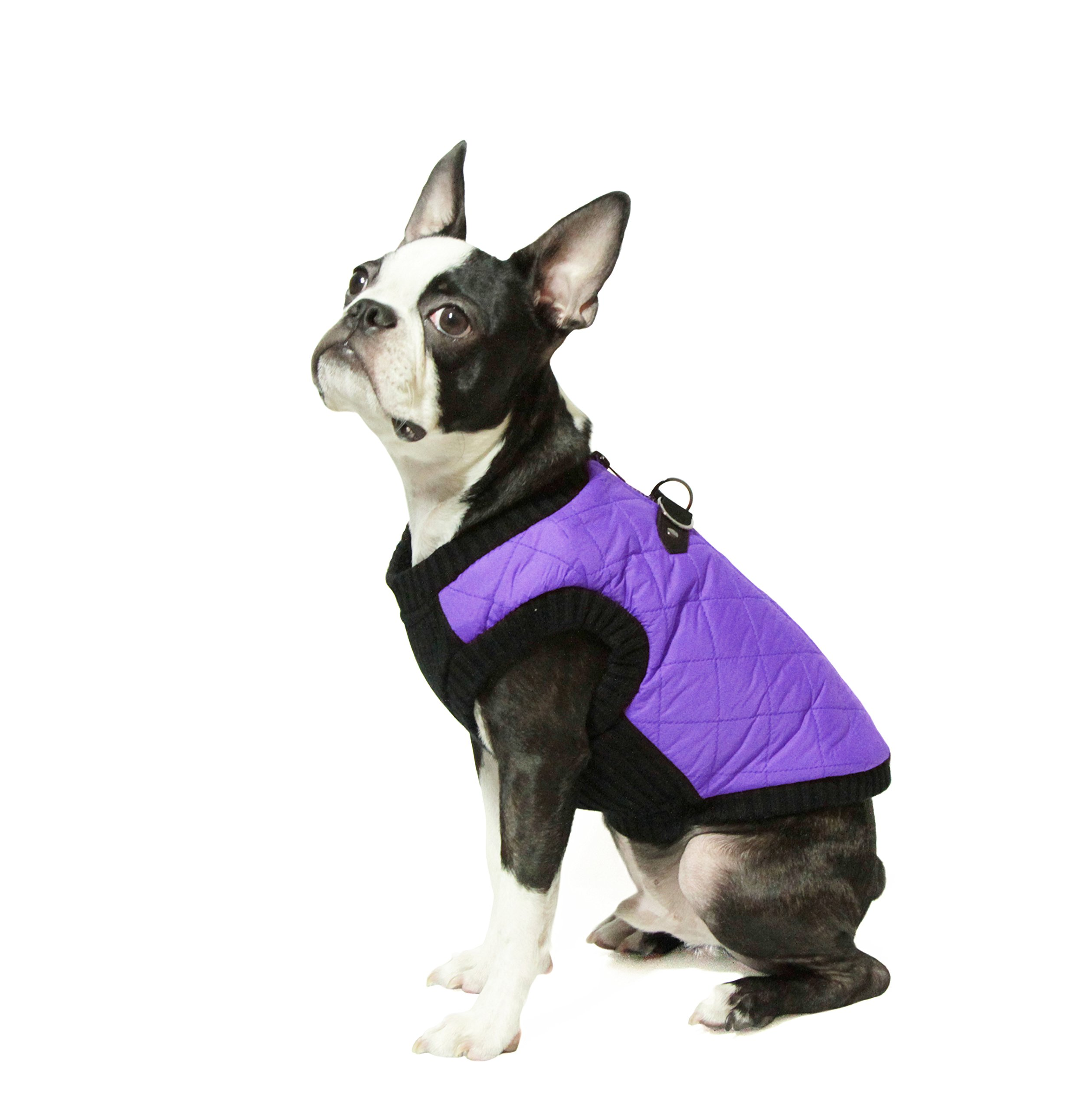 Gooby Fashion Quilted Bomber Dog Vest with Stretchable Chest, Violet, Medium