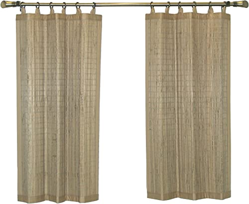 Bamboo Ring Top Curtain Ring Top Tier Set, 48 by 36-Inch L x H, Driftwood