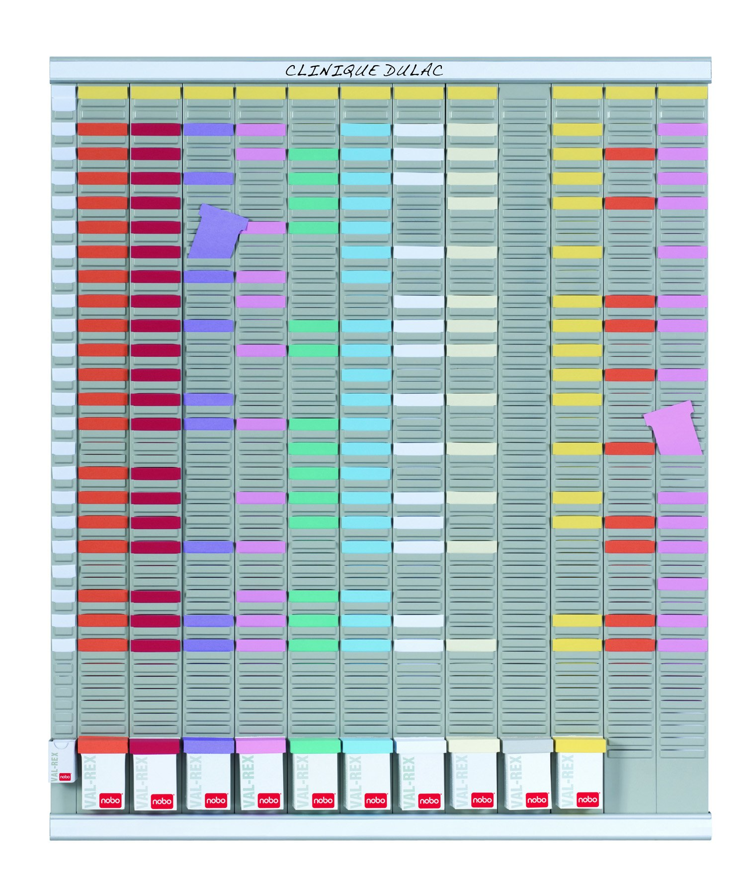 Nobo–T-Card Yearly Planner/Calendar Board (French Language) 13 Columns, 54 Slots 96 Haut. x 80 Larg.cm White