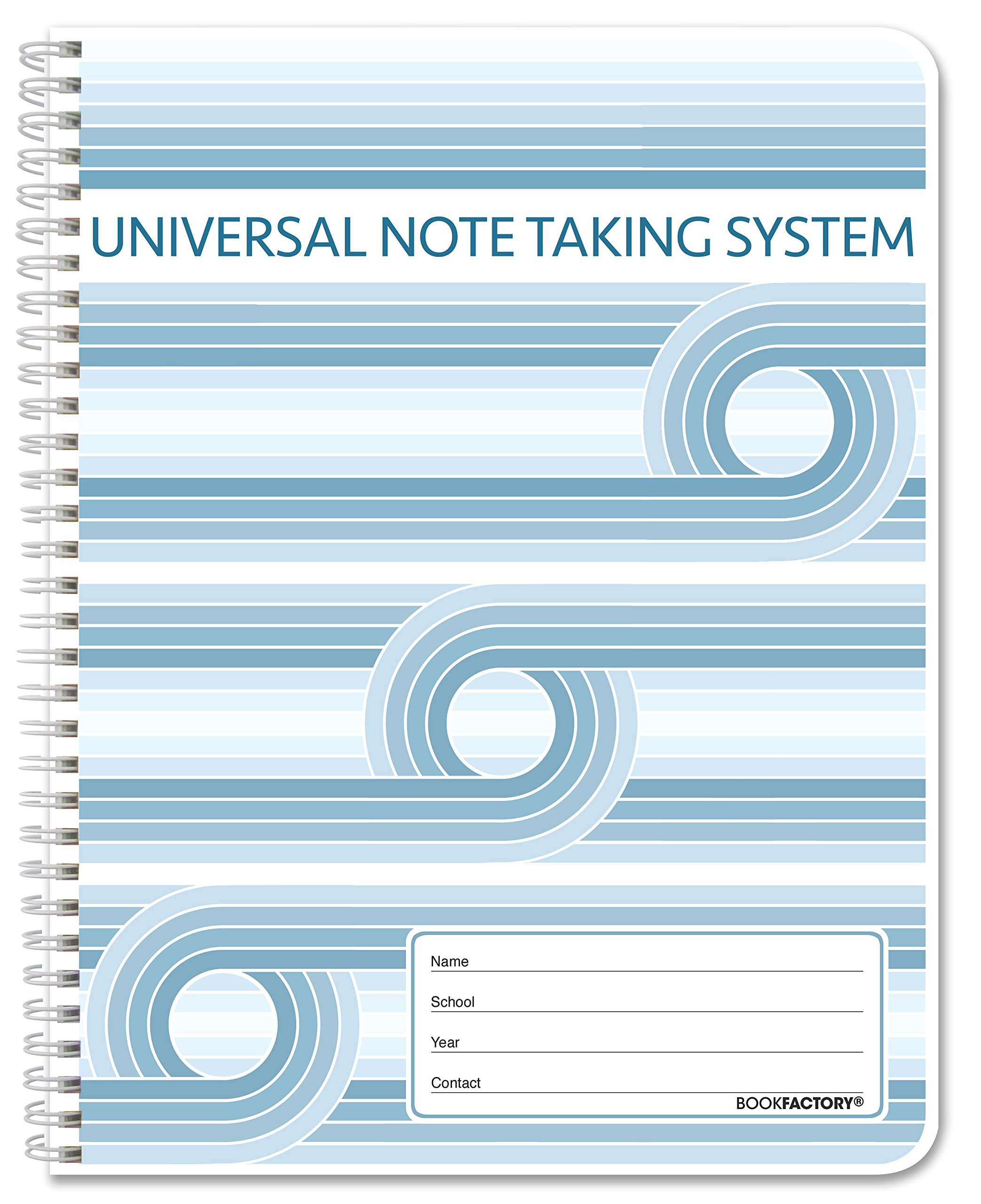 BookFactory Universal Note Taking System (Cornell Notes)/NoteTaking Notebook - 120 Pages, 8 1/2'' x 11'' - Wire-O (LOG-120-7CW-A(Universal-Note))