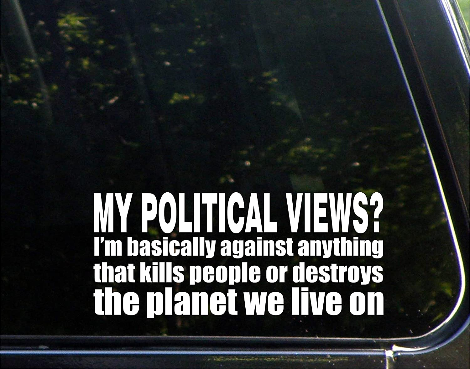 "My Political Views? I'm Basically Against Anything The Kills People Or Destroys The Planet We Live On (8-1/2"" x 4"") Die Cut Decal Bumper Sticker For Windows, Cars, Trucks, Laptops, Etc"