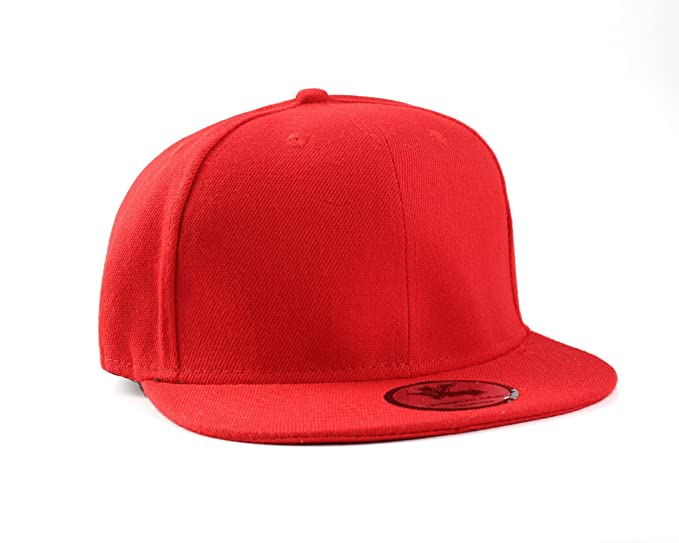 Image Unavailable. Image not available for. Color  Plain Red Flat Peak  SnapBack Baseball Cap 45401f37fba