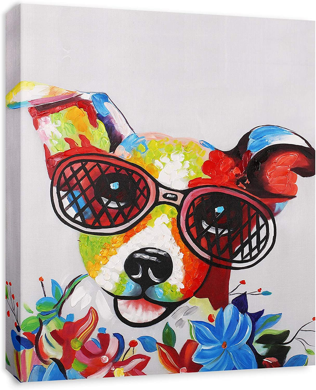 Modern Pop Art Decor - FRAMED - Happy Jack Russell Terrier with Glasses Animal Art Canvas Print Home Decor Wall Art, Gallery Wrap Inner Frame, 7x9