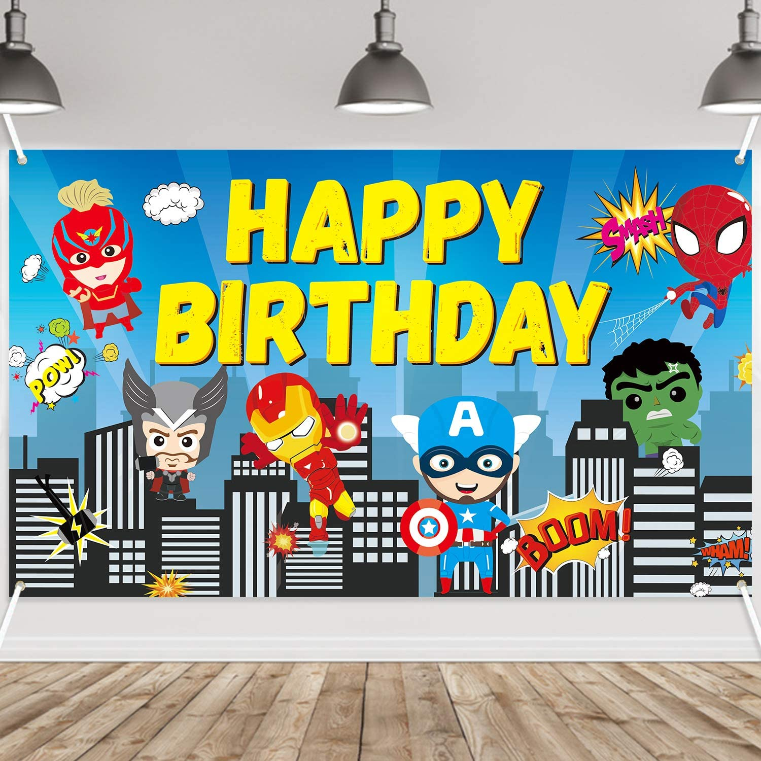 PANTIDE Superhero Happy Birthday Backdrop Banner, Colorful Spiderman Superhero Themed Photography Backdrop Birthday Decoration Party Supplies, Super City Wall Decor Welcome Poster Banner(6.6ft3.8ft)